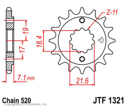 Звезда передняя (ведущая) JTF1321 для мотоцикла, стальная