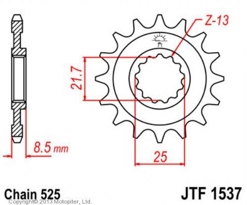 Звезда передняя (ведущая) JTF1537 для мотоцикла, стальная