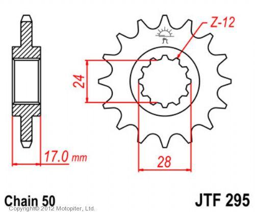 Звезда передняя (ведущая) JTF295 для мотоцикла, стальная