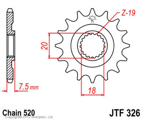 Звезда передняя (ведущая) JTF326 для мотоцикла, стальная