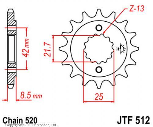Звезда передняя (ведущая) JTF512 для мотоцикла, стальная