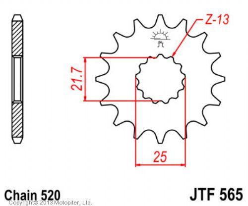 Звезда передняя (ведущая) JTF565 для мотоцикла, стальная