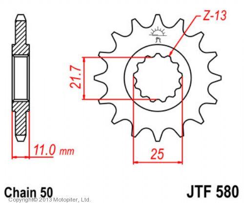 Звезда передняя (ведущая) JTF580 для мотоцикла, стальная