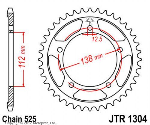 Звезда задняя (ведомая) JTR1304 для мотоцикла стальная