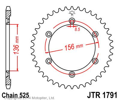 Звезда задняя (ведомая) для мотоцикла JTR1791