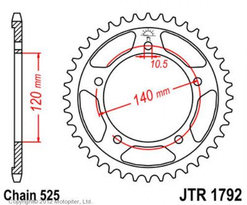 Звезда задняя (ведомая),(сталь) JT 1792.41