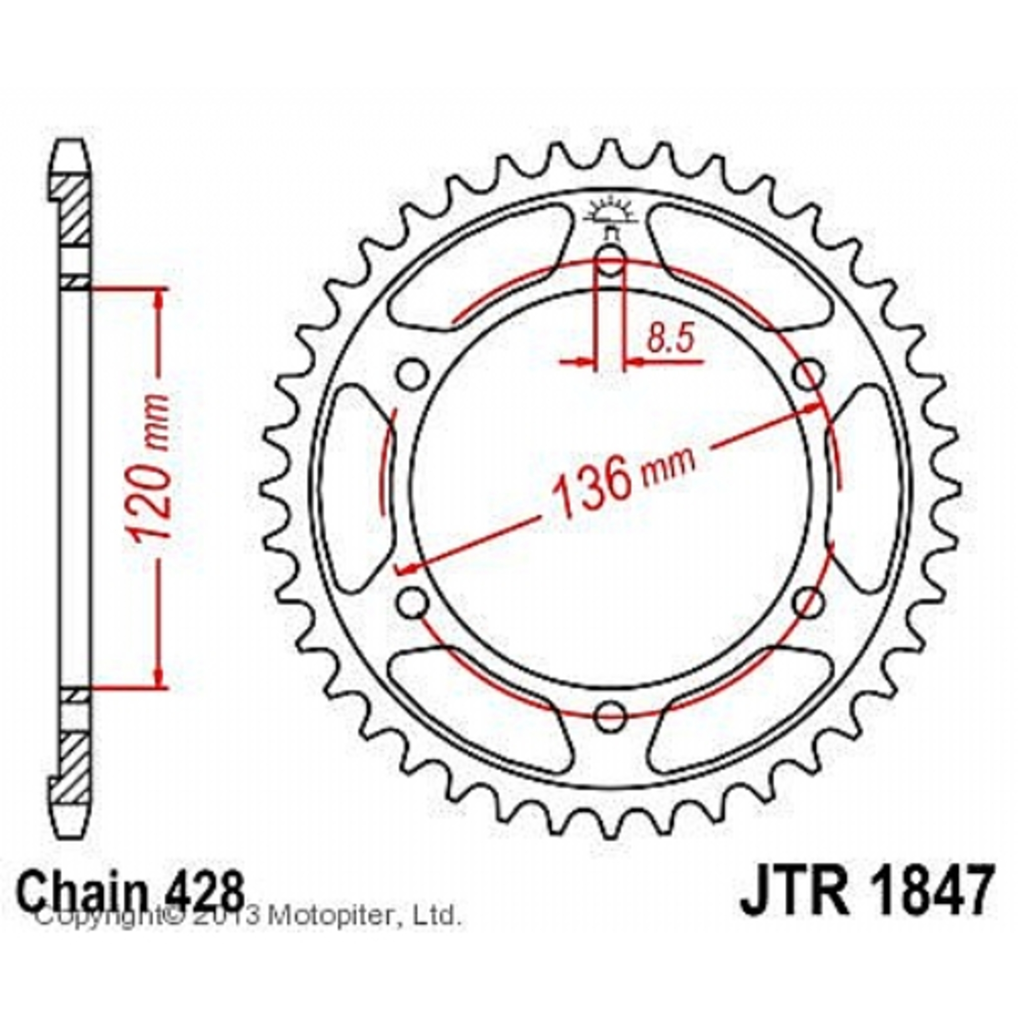 Звезда задняя (ведомая),(сталь) JT 1847.48