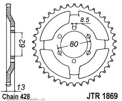 Звезда задняя (ведомая),(сталь) JT 1869.45