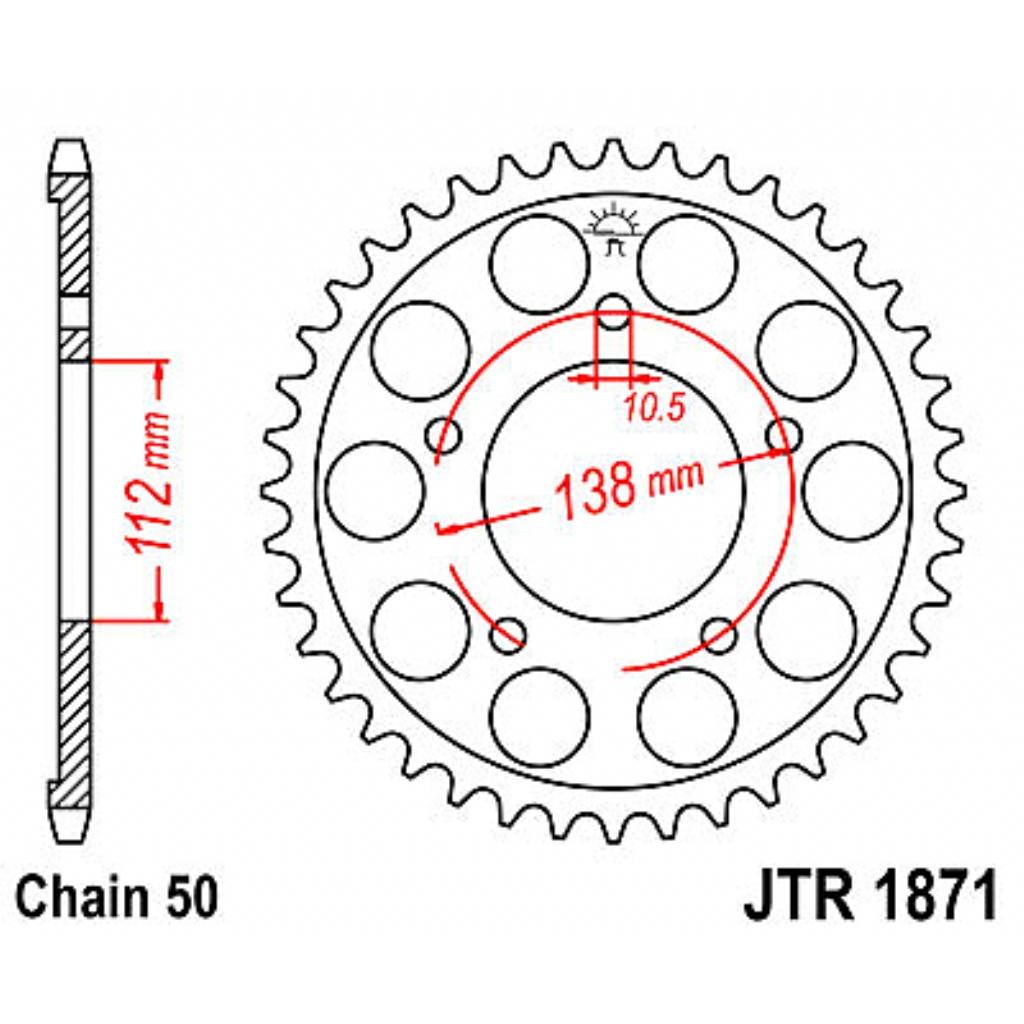 Звезда задняя (ведомая) для мотоцикла JTR1871