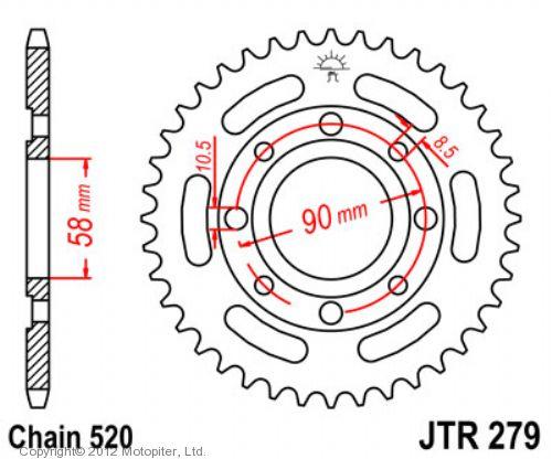 Звезда задняя (ведомая) для мотоцикла стальная JTR279