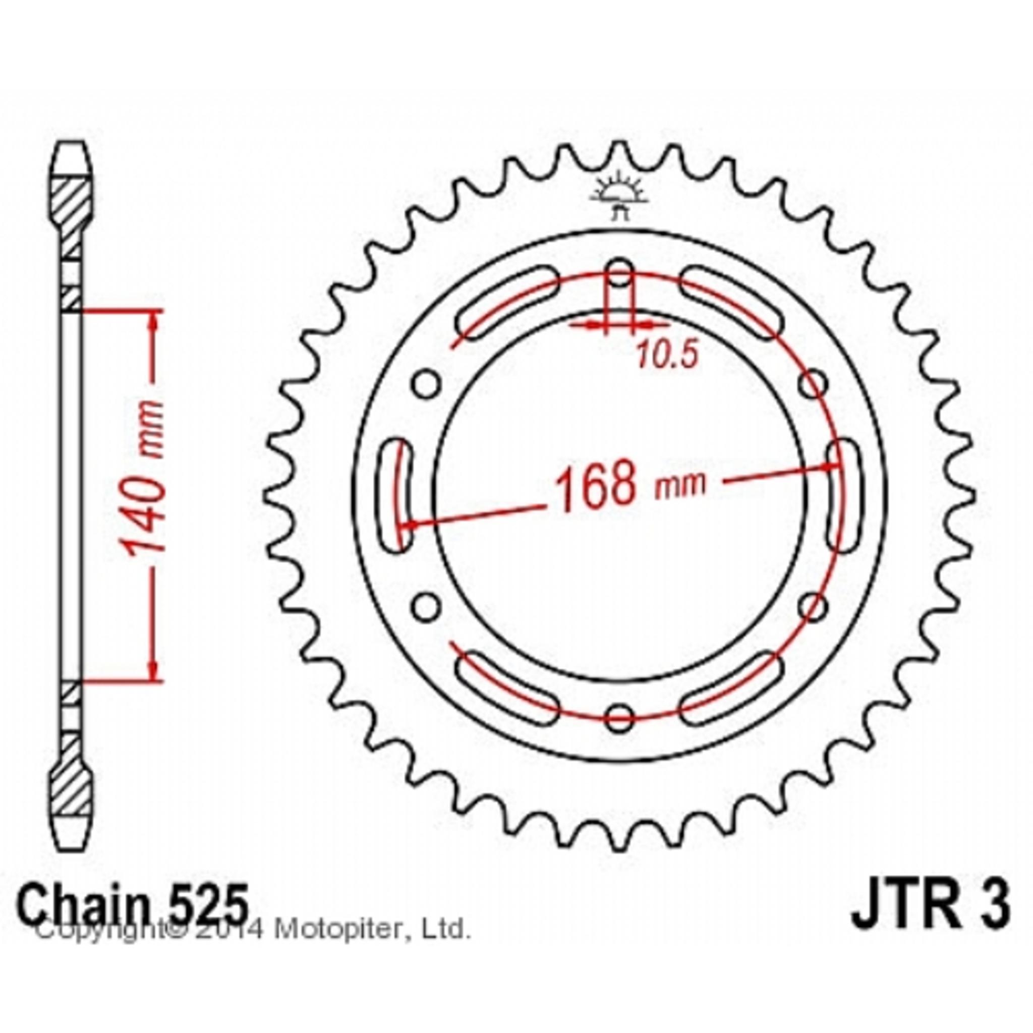 Звезда задняя (ведомая),(сталь) JT 3.42