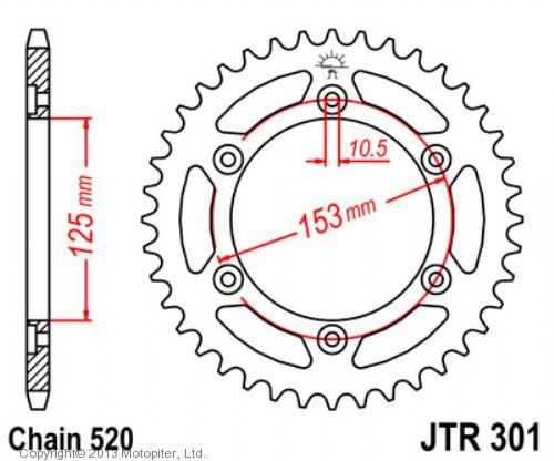 Звезда задняя (ведомая),(сталь) JT 301.40