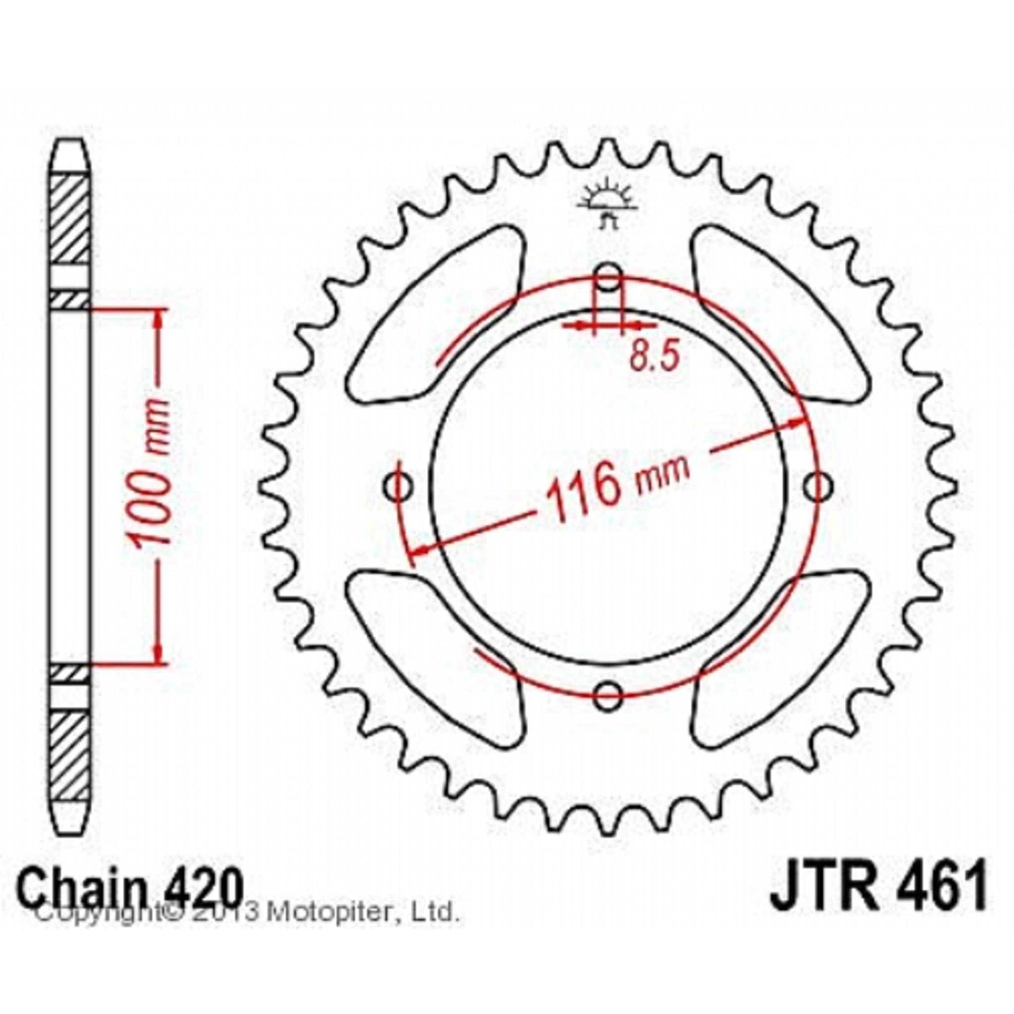 Звезда задняя (ведомая) JTR461 для мотоцикла стальная
