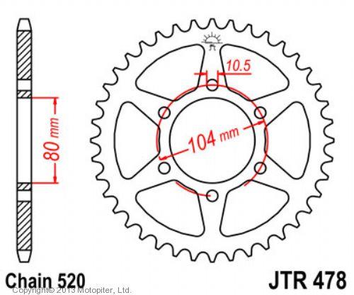 Звезда задняя (ведомая),(сталь) JT 478.38