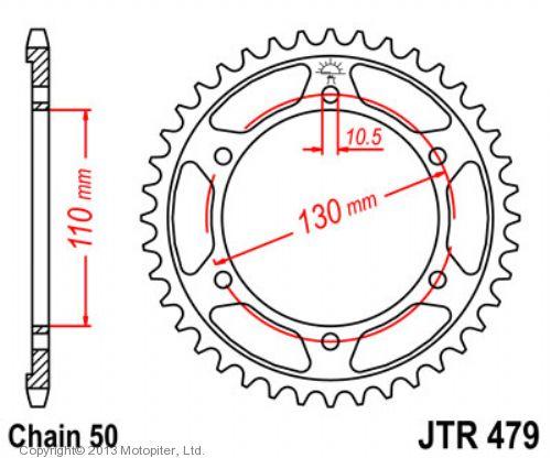 Звезда задняя (ведомая) JTR479 для мотоцикла стальная
