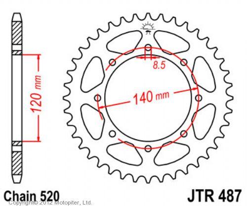 Звезда задняя (ведомая) JTR487 для мотоцикла стальная