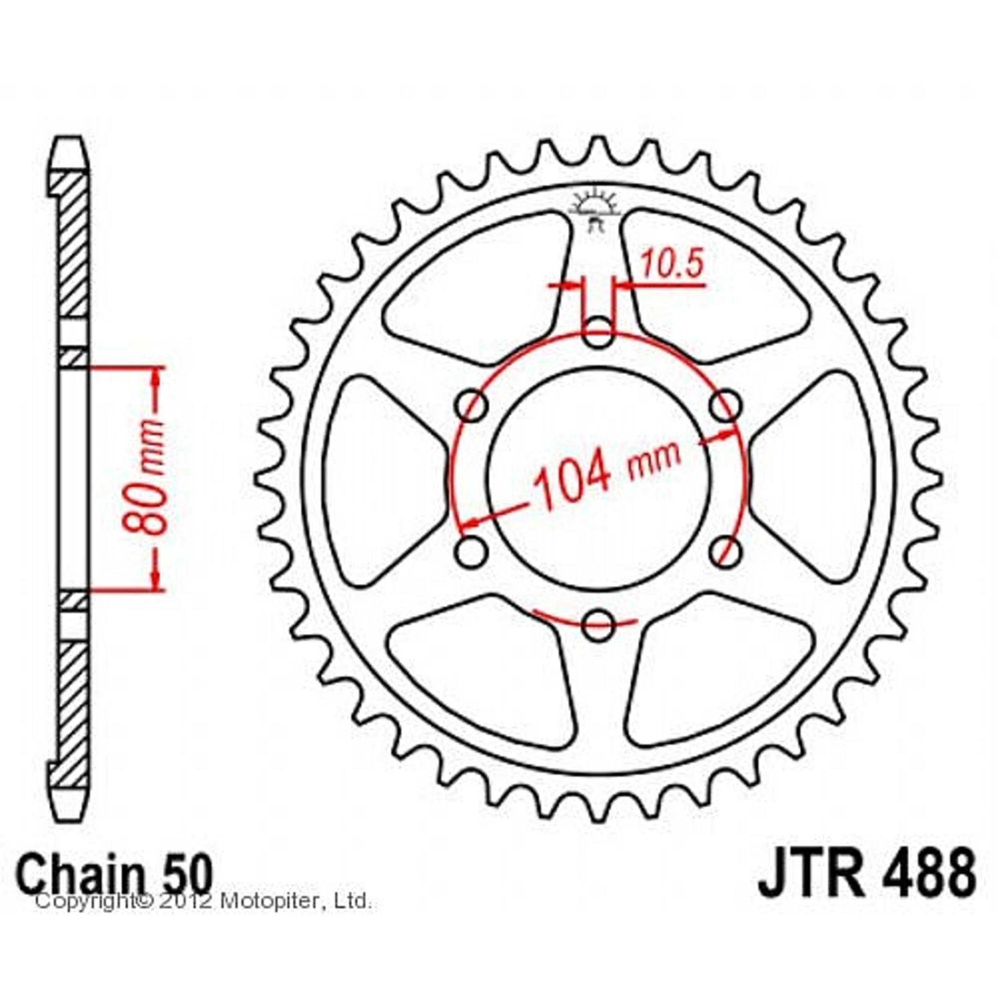 Звезда задняя (ведомая) JTR488 для мотоцикла стальная