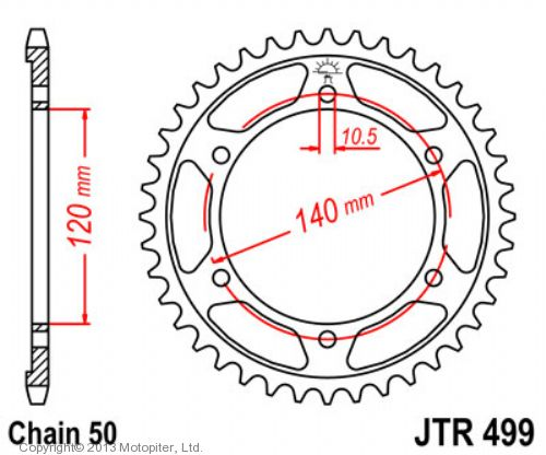 Звезда задняя (ведомая),(сталь) JT 499.38