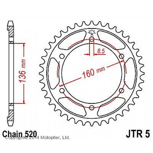 Звезда задняя (ведомая),(сталь) JT 5.47