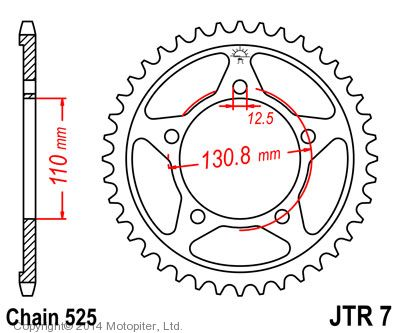 Звезда задняя (ведомая) для мотоцикла JTR7