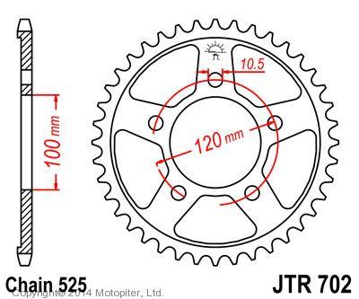 Звезда задняя (ведомая) для мотоцикла JTR702