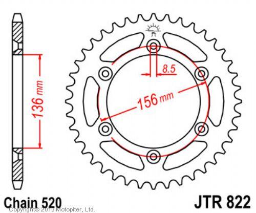 Звезда задняя (ведомая),(сталь) JT 822.42