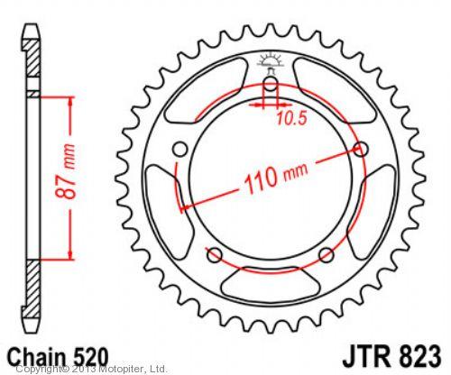 Звезда задняя (ведомая),(сталь) JT 823.39