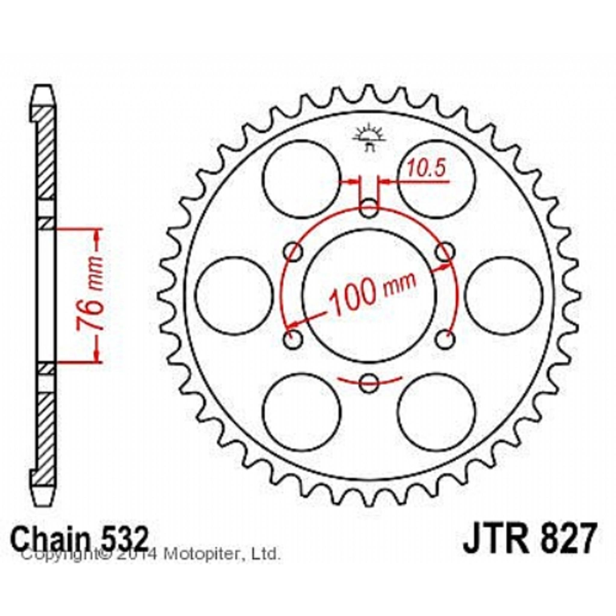 Звезда задняя (ведомая) для мотоцикла JTR827