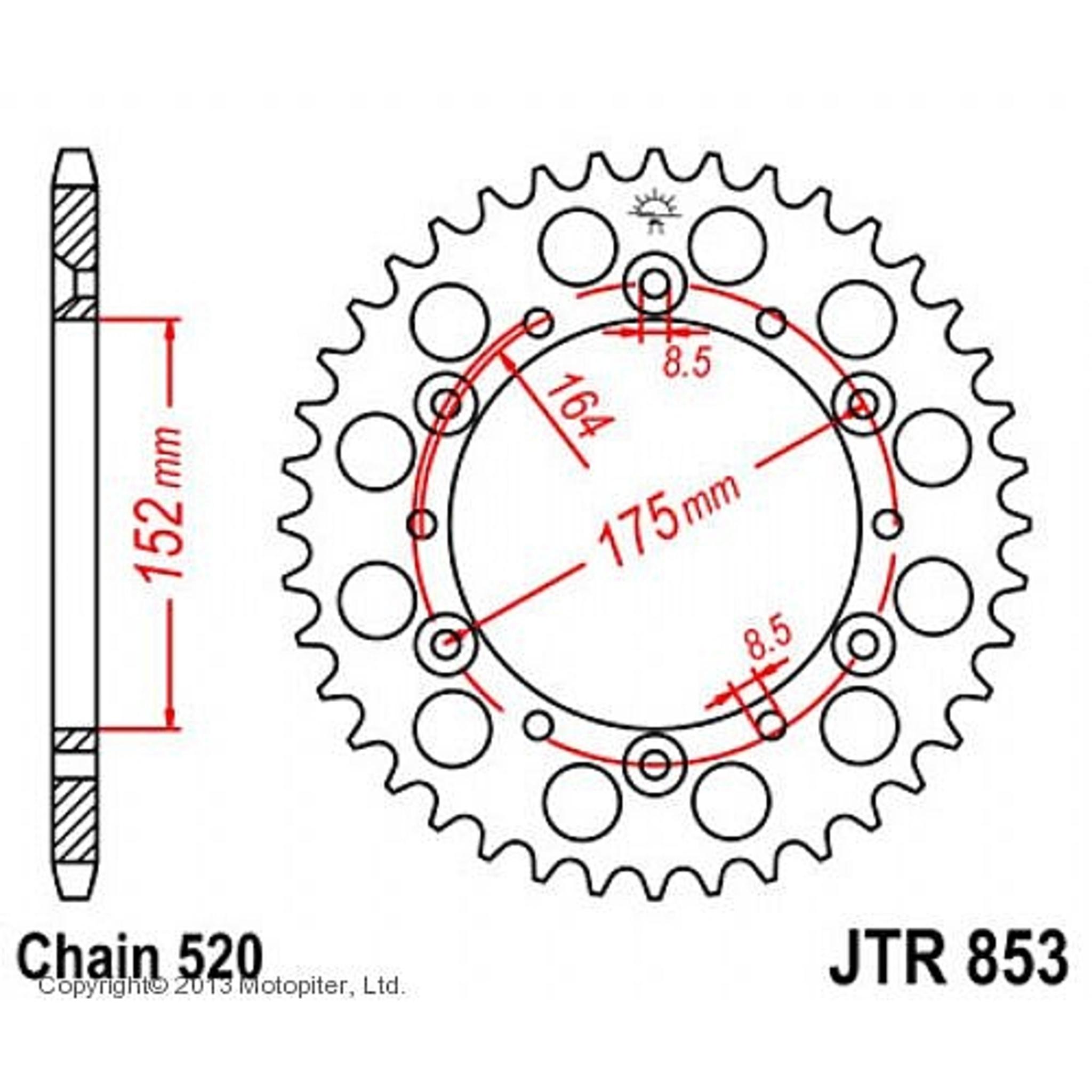 Звезда задняя (ведомая) JTR853 для мотоцикла стальная
