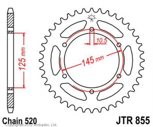 Звезда задняя (ведомая),(сталь) JT 855.45