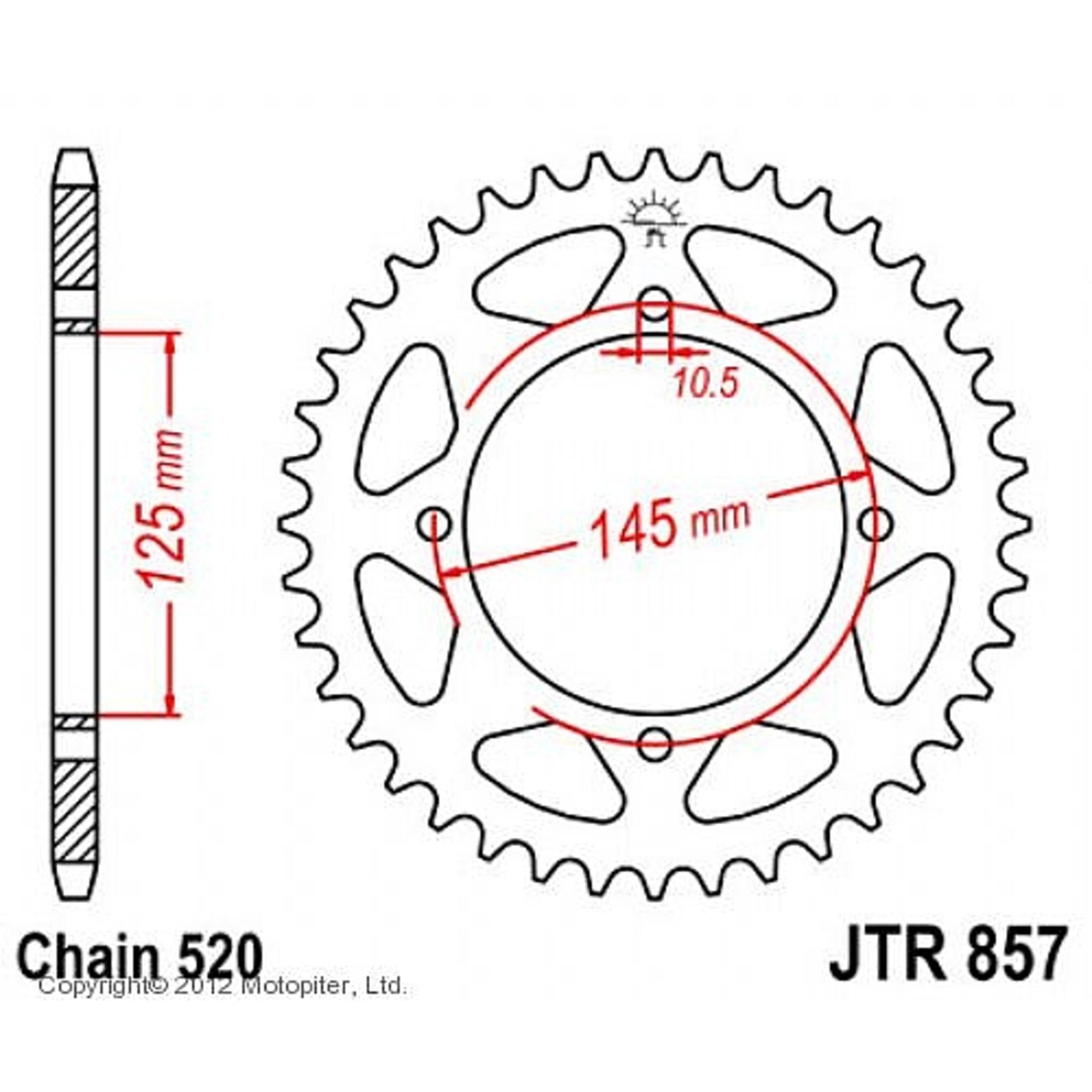 Звезда задняя (ведомая),(сталь) JT 857.45