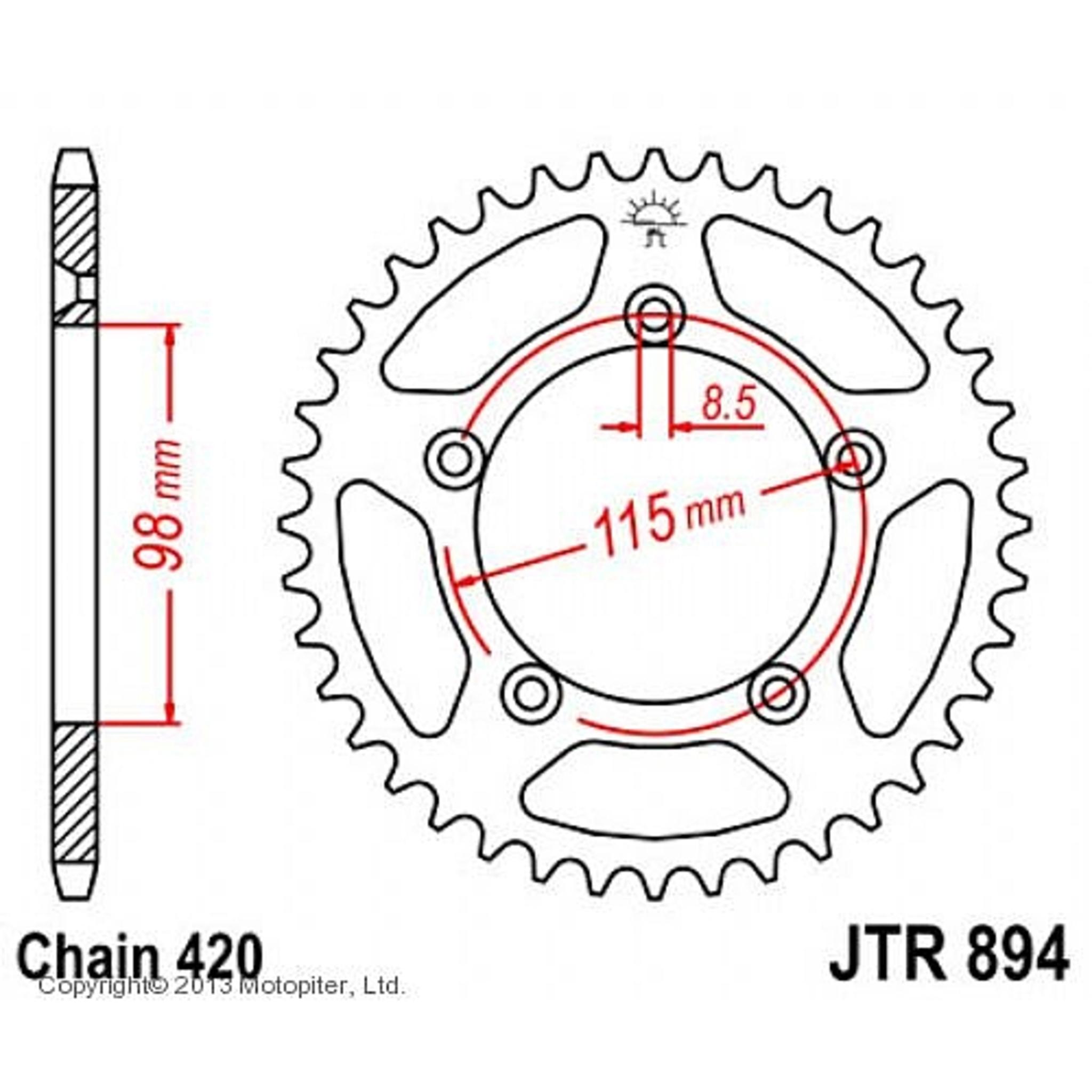 Звезда задняя (ведомая) JTR894 для мотоцикла стальная