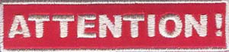 Нашивка Attention - Внимание (бело-кр., световозвращающая)