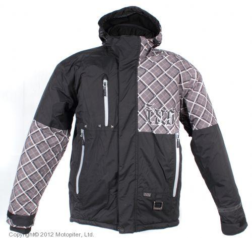 Куртка для езды на снегоходе SQUARE серая клетка.