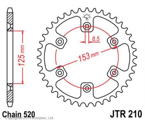 Звезда задняя (ведомая),(сталь) JT 210.53