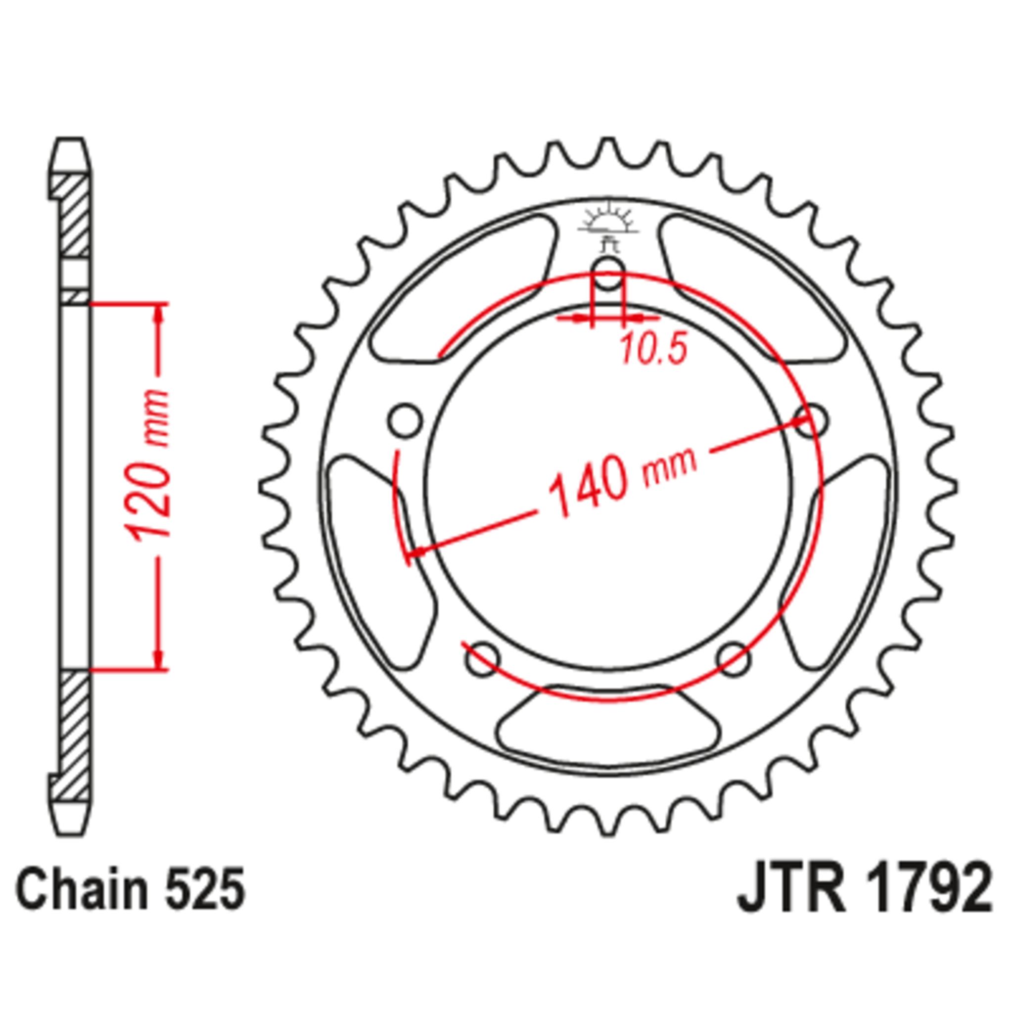 Звезда задняя (ведомая),(сталь) JT 1792.43