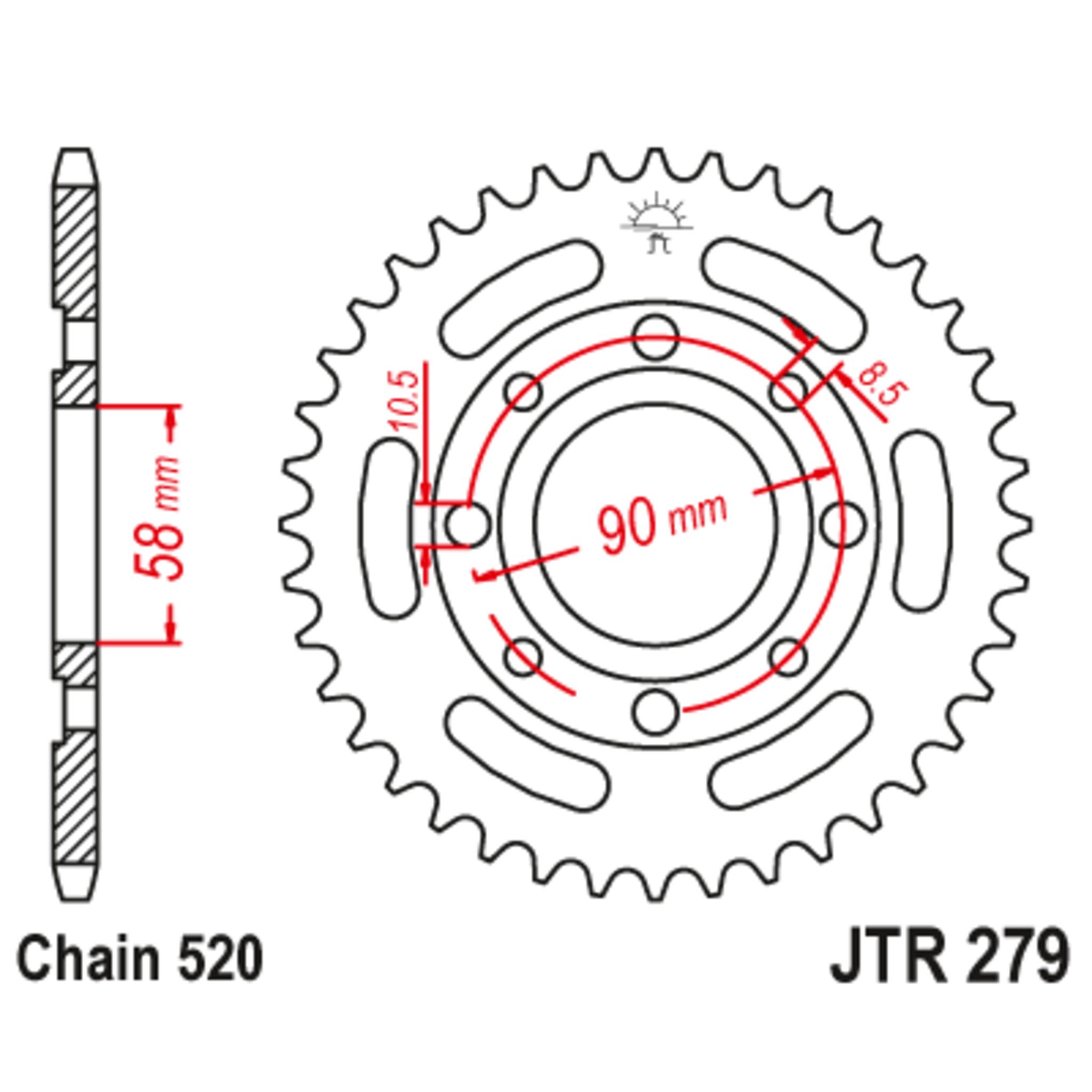 Звезда задняя (ведомая),(сталь) JT 279.39