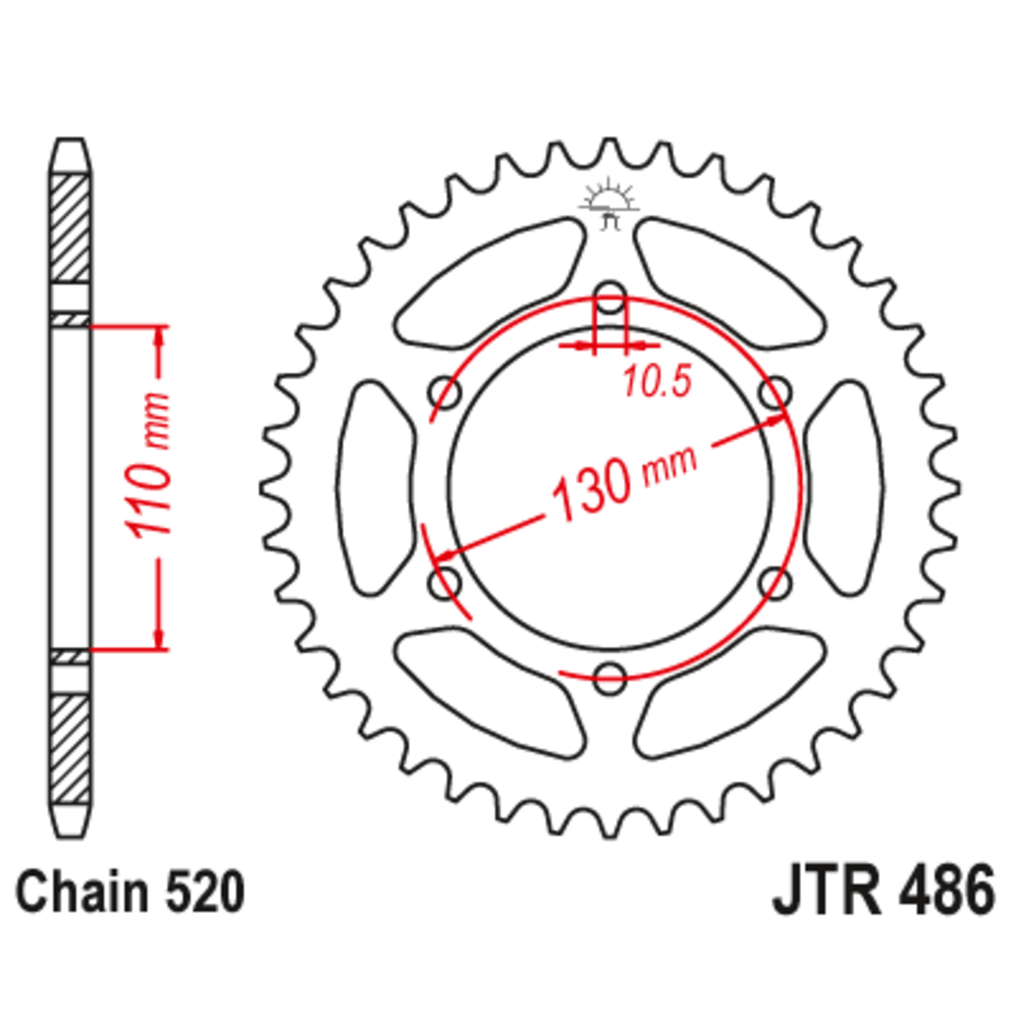 Звезда задняя (ведомая),(сталь) JT 486.42