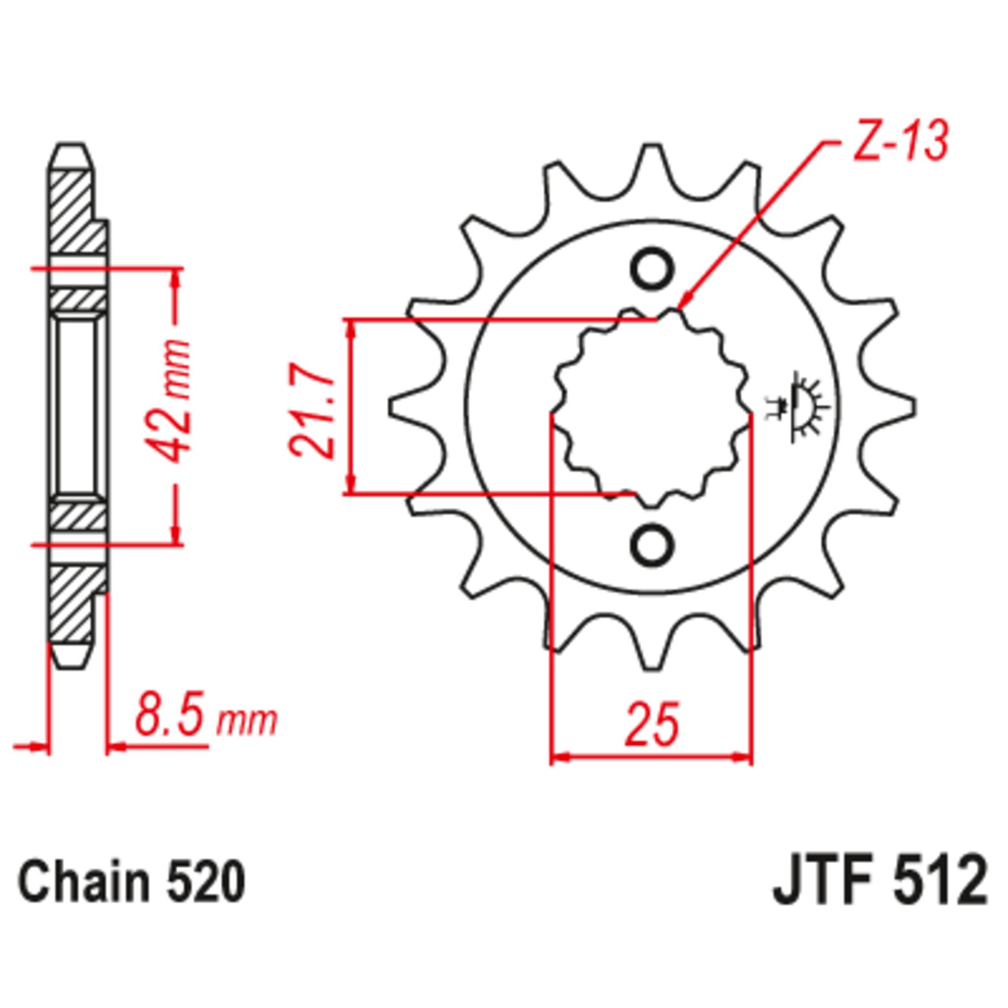 Звезда ведущая , с демпфером, JT 512.16RB