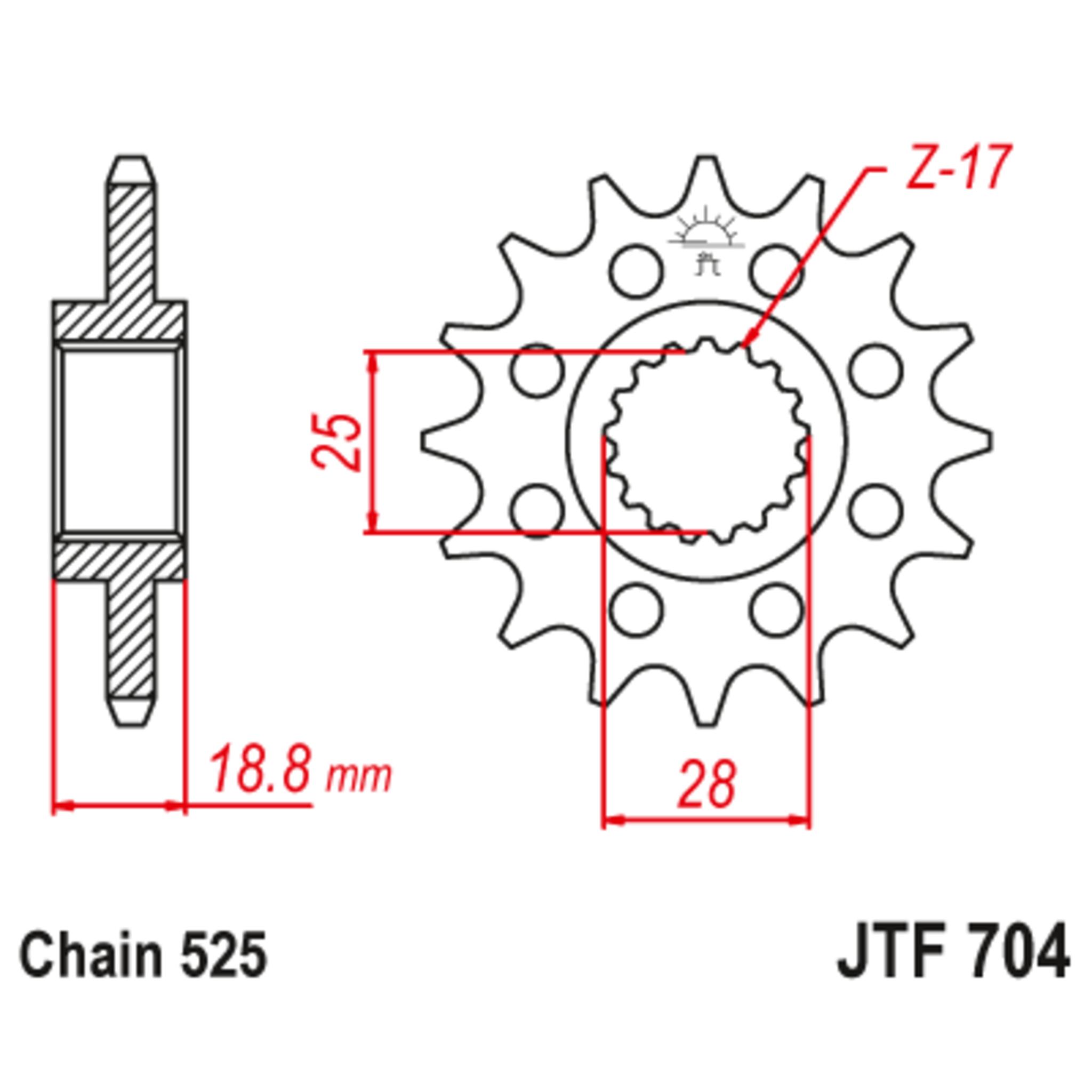 Звезда ведущая , с демпфером, JT 704.16RB