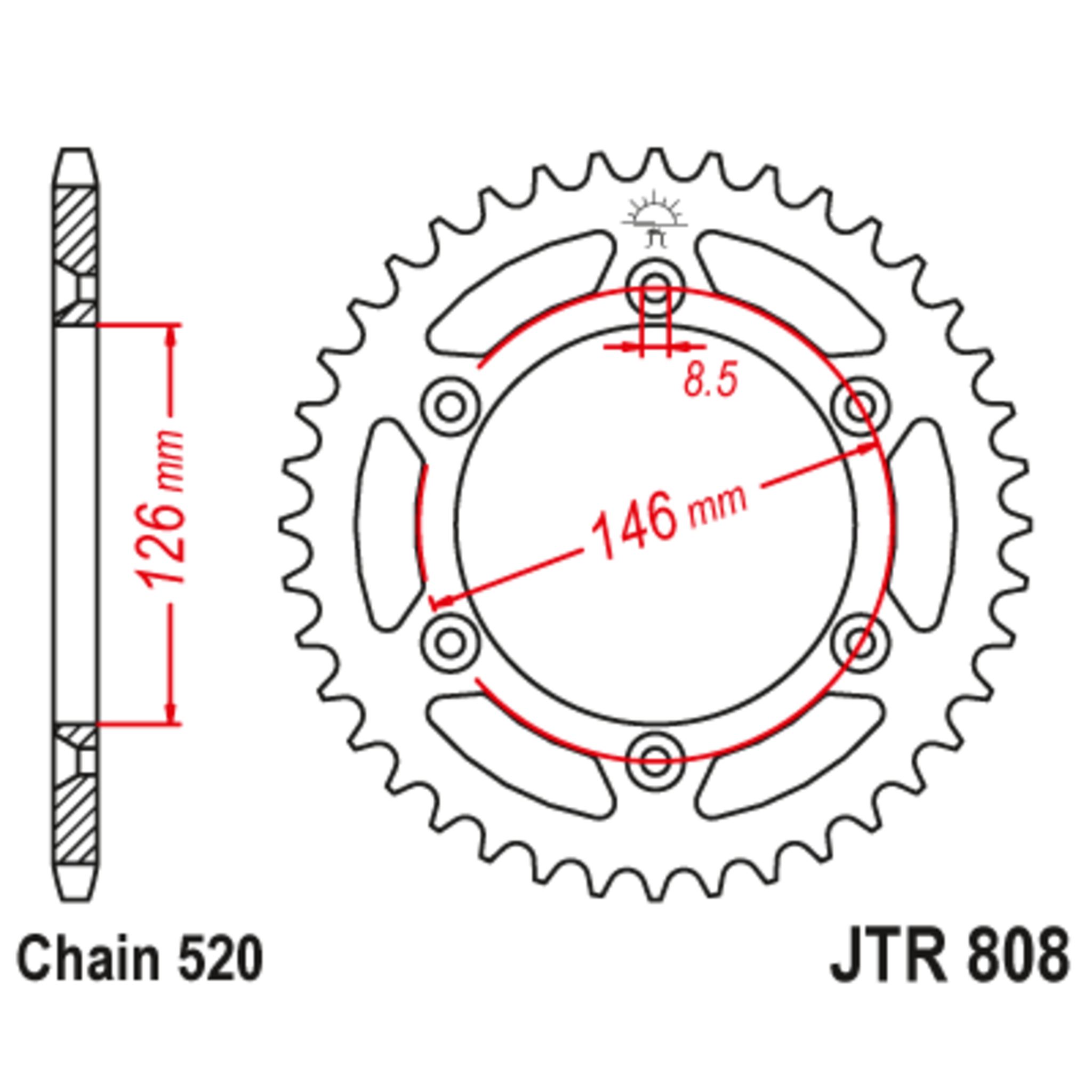 Звезда задняя (ведомая),(сталь) JT 808.53