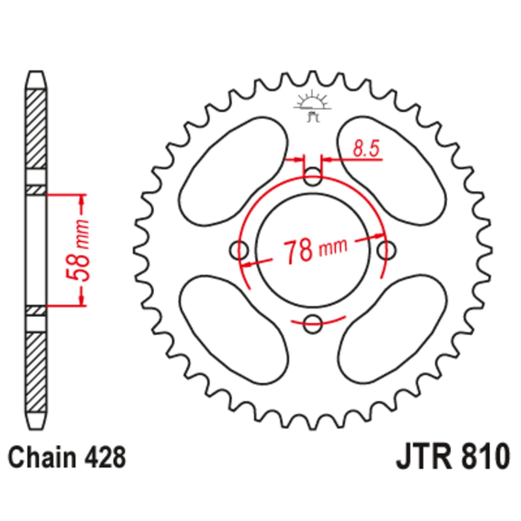 Звезда задняя (ведомая),(сталь) JT 810.43