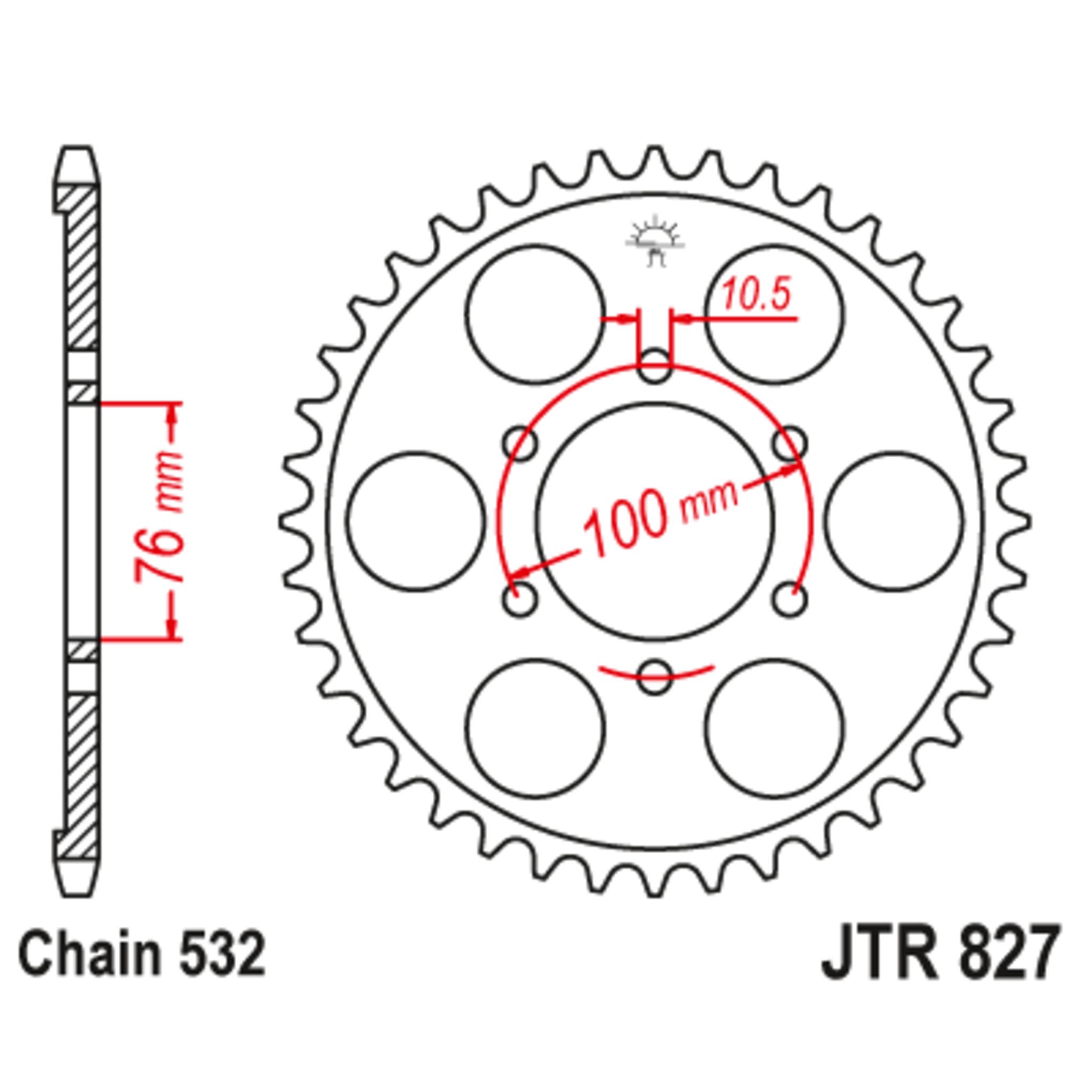 Звезда задняя (ведомая),(сталь) JT 827.52