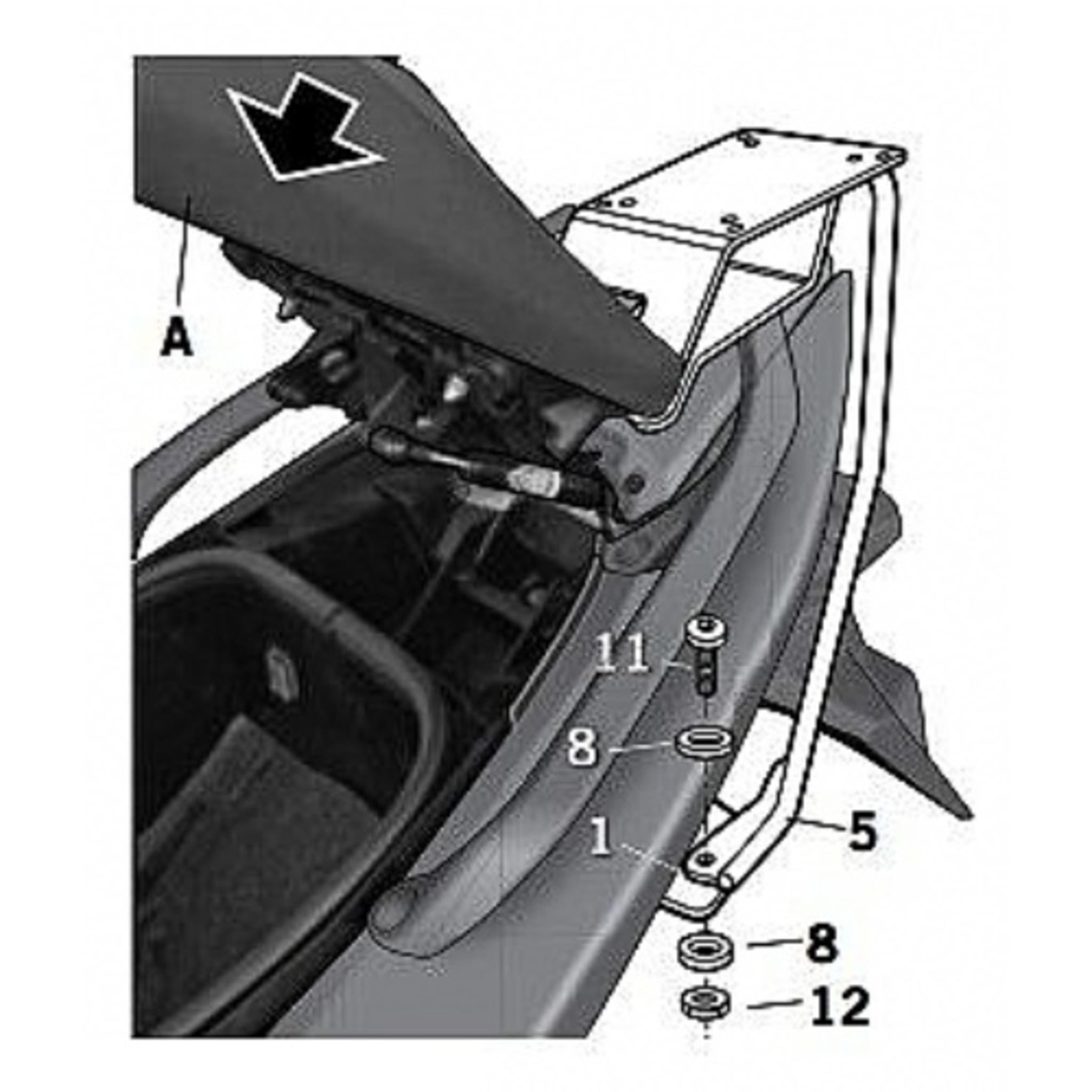 Крепление кофра SHAD Yamaha Tmax (08-11), задний