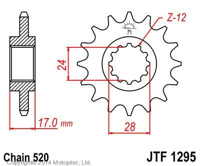 Звезда передняя (ведущая) JTF1295 для мотоцикла, стальная