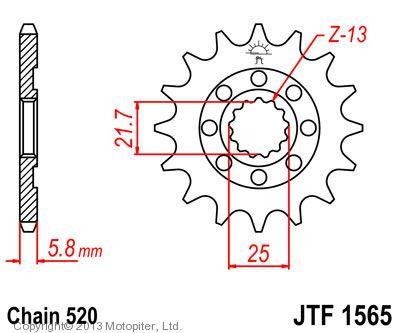 Звезда передняя (ведущая) JTF1565 для мотоцикла, стальная