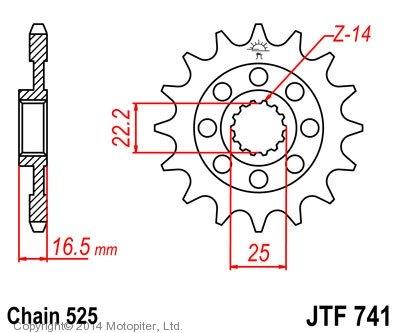 Звезда передняя (ведущая) JTF741 для мотоцикла, стальная