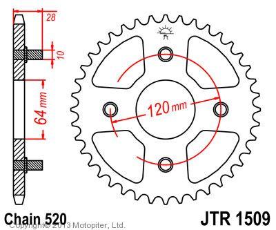 Звезда задняя (ведомая) JTR1509 для мотоцикла стальная