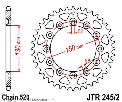 Звезда задняя (ведомая),(сталь) JT 245/2.41