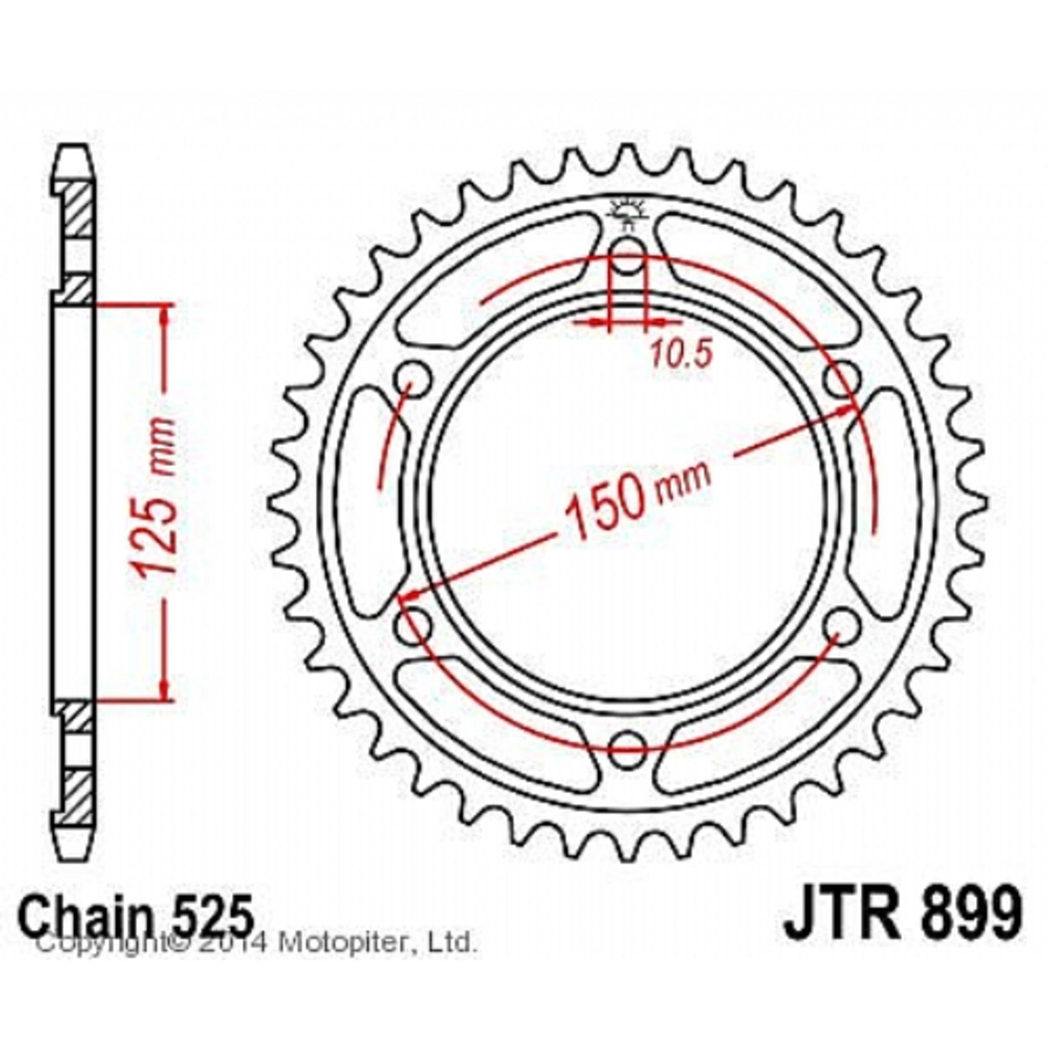 Звезда задняя (ведомая) JTR899 для мотоцикла стальная